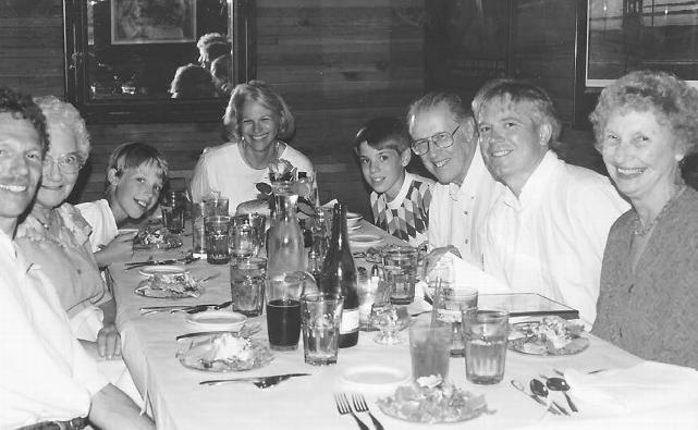 A fiftieth wedding anniversary gathering of the family (left to right): Dave, Mary Wallace (Peter's mother), Evan, Shelley, Erik, Bob, Peter, and Cleo
