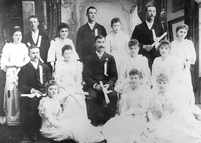 OAC's graduating class of 1892 included both of the Fultons. Martha is second from the right on the first row, and John is first on the left in the second row.