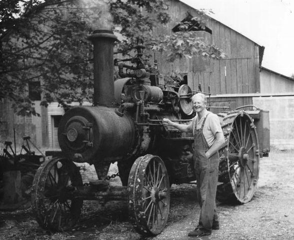 Otto Hahn shows off one of his favorite steam tractors