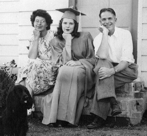 Emily and Vic with daughter Allison upon her graduation from Corvallis High School in 1948.