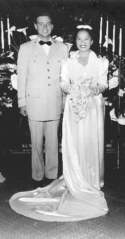 Rebecca McFadden and her husband, Lieutenant Julian McFadden, on their wedding day, May 7, 1955