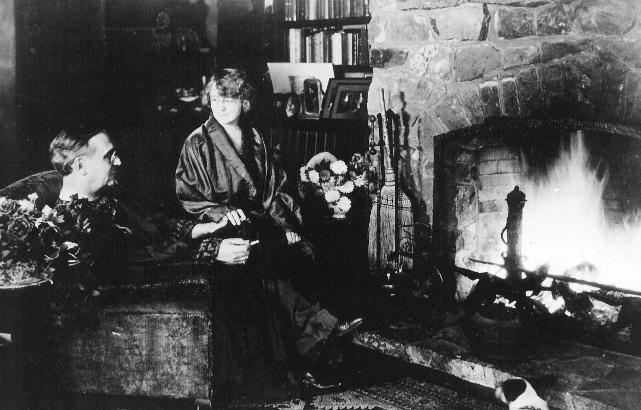 Paul & Lillian Petri at their hearthside.